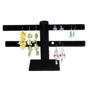 US Black Velvet T Bar Bracelet Necklace Earring Display Jewelry Stand Holder