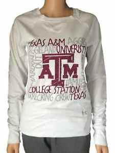 Texas A&M Aggies Under Armour Semi-Fitted WOMENS White LS Crew Sweatshirt (M)