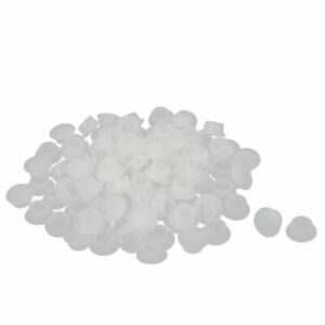 10mm Dia Hole Round Plastic Blanking End Screw Cap Covers Insert White 100 Pcs