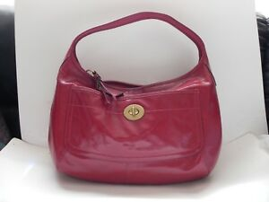 Coach~Ergo Turnlock Red Patent Leather Hobo Handbag #F12887