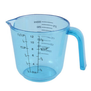 Kitchen Bakery Baking Plastic Water Liquid Measuring Cup 300ml Clear Blue