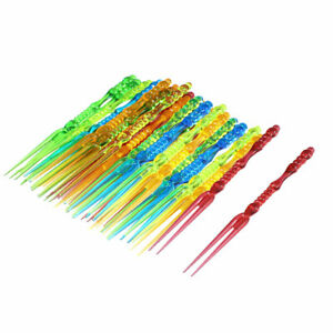 Home Party Lunch Box Plastic Food Picker Cake Fruit Forks Multicolor 40 Pcs