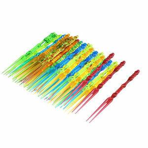 Home Birthday Party Plastic Food Cake Fruit Forks Picker Multicolour 60pcs