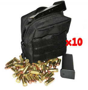 (10) .357 MAG AMMO MODULAR MOLLE UTILITY POUCH FRONT HOOK LOOP STRAP .357 357