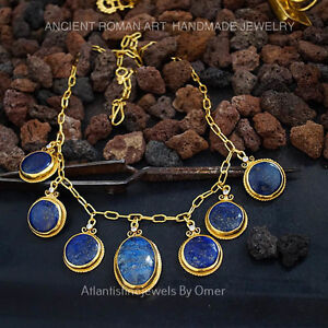 Sterling Silver Large Handmade Lapis Necklace 24k Gold Plated Turkish Jewelry