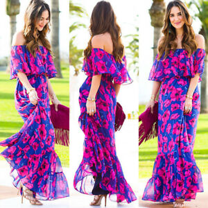 Women Boho Holiday Off Shoulder Floral Maxi Ladies Summer Beach Party Long Dress