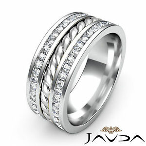 9.5mm Mens Wedding Band Pave Diamond Rope Design Eternity Ring Platinum 1.75Ct