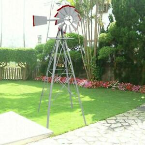 8Ft Windmill Ornamental Garden Weather Vane Weather Resistant Metal Wind Mill