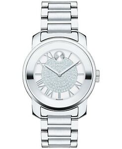 Movado Bold Swiss Luxe Crystal & Silver Tone Women's Bracelet Watch 32mm 3600254