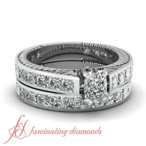 4.15 Ct Cushion Cut H-Color Diamond Bract Design Wedding Rings Channel Set GIA