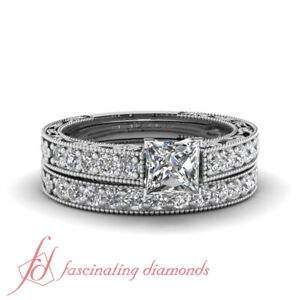 1.35 Ct Princess Cut VVS2 Diamond Engraved Floral Design Wedding Rings Set GIA