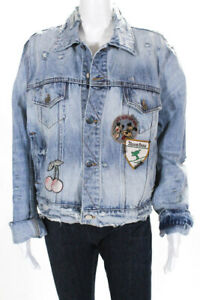 Amiri Womens Distressed Denim Concert Trucker Jacket Size Large Button Front