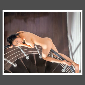 Glossy 8x10 Adult Photo Sexy Stunning asian beauty Mai on the stairs S19 D9931 $4.95