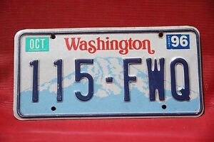 1996 WASHINGTON License Plate *** Mt Rainier *** #x27;96 WA