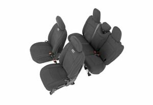 Rough Country Neoprene Front/Rear Seat Covers-Black for 18-19 Wrangler JL; 91010