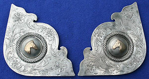 VISALIA STERLING SILVER 14K GOLD HORSEHEAD WESTERN SADDLE CORNER PLATES CONCHO