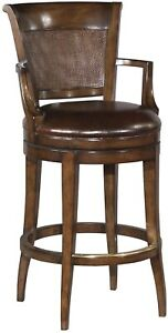 COUNTER STOOL WOODBRIDGE SWIVEL BROWN LEATHER CANE BACK DISTRESSED WOOD ARM