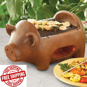 Terracotta Pig Grill Outdoor Barbecue BBQ Charcoal Portable Pit Camp Tailgate