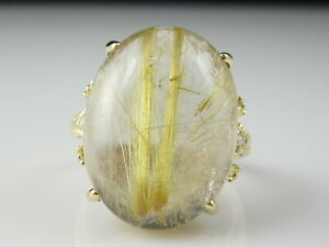 Rutilated Quartz Diamond Ring 14K Rutile Dendrite Yellow Gold Size 7 Cabochon