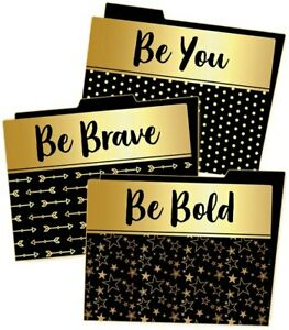 CD 136021 Sparkle and Shine Black and Gold File Folders Classroom Organization