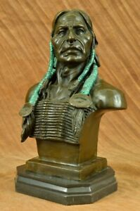 BUST OF INDIAN CHIEF BRONZE STATUE SCULPTURE ORIGINAL SIGNED MILO FIGURE ART LRG