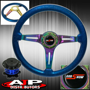 Blue Quick Release + Metallic Blue Wood Grain Neo Chrome Center Steering Wheel