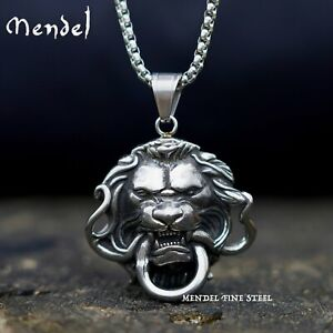 MENDEL Mens Snake Lion Necklace Pendant Head Stainless Steel King Chain Silver $10.99