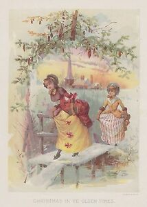 COLONIAL CHRISTMAS SCENE CHURCH LADIES SNOW PINE CONES LITHOGRAPH ANTIQUE PRINT $16.95