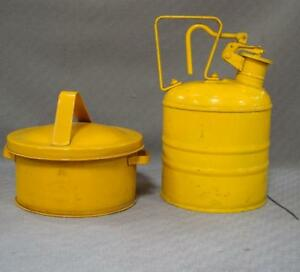 Set of 2 Vintage Justrite Saftey Can + Bench Container with Strainers