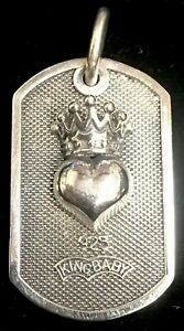 King Baby Sterling Dog Tag Pendant Crowned Heart
