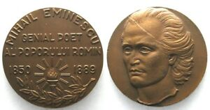 ROMANIA 100th Years of Death MIHAI EMINESCU 1989 Bronze medal 60mm # 32454 $184.99
