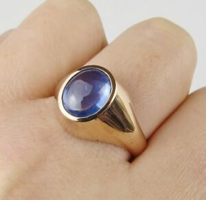 Wonderful 4.1 carat natural blue sapphire  cabochon 10k gold ring size 10 12