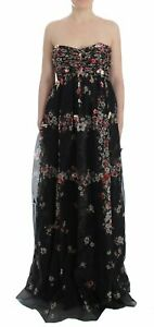 Masterpiece black floral print silk runway dress