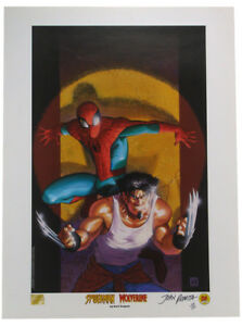 Ultimate Spider Man Wolverine Lithograph Signed John Romita Marvel 504 699 w COA $149.95