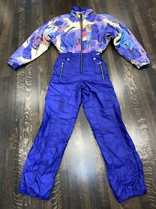 Vtg 80s Abstract NILS Womens LARGE One Piece SKI SUIT Snow Bib Retro Snowsuit 10
