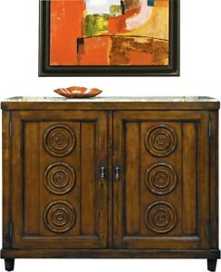 SIDE CABINET FRENCH PANELED DOORS CIRCULAR MOLDINGS INSET MARBLE TOP CHER