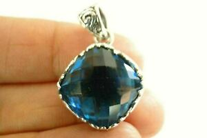 Ornate London Blue Topaz Solitaire Double Sided 925 Sterling Silver Pendant