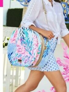 NIP Lilly Pulitzer GWP Round Bag Kaleidoscope Coral Hardshell Carry-on Luggage