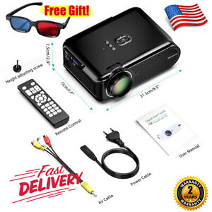 NEW Home Theater Multimedia LCD LED Projector 7000Lumen HDMIUSBSDAV Video 3D