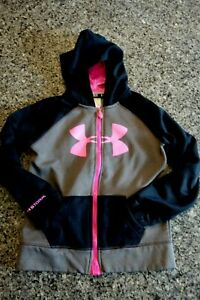 EUC Girls Under Armour Storm Youth Medium Zip Hoodie Sweatshirt Black Pink Gray