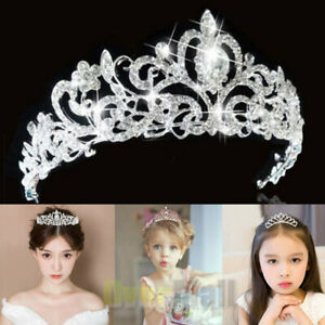 Lady girl Bridal Princess shine Crystal Hair Tiara Wedding Crown Veil Headband $10.97