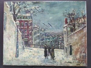 VINTAGE FRENCH OIL ON CANVAS PAINTING SIGNED MAURICE UTRILLO 1914 WHITE PERIOD