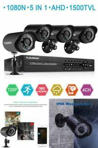 House Security Camera System Home FLOUREON 1080N DVR + 4 Pack 1.0MP CMOS Lens