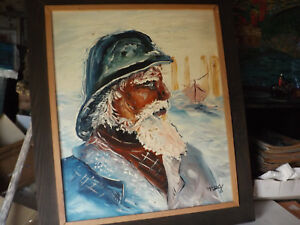 Giant Icon Briar Island Captain Joshua Slocum Ship Artist Portrait Painting Art