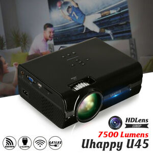 Full 1080P 7500LM LED Projector Multimedia Home Cinema Theater USB SD US