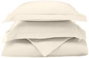 3-pc Full/Queen Ivory 100% Cotton Duvet Cover Set 800 Thread Count