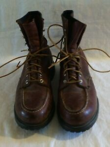 Mens Vintage 70s Red Wing USA Brown Leather Steel Toe 2229 8
