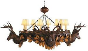 CHANDELIER STAG HEAD ASPEN DEER 8-LIGHT FAUX LEATHER SHADE SHADES CAST R