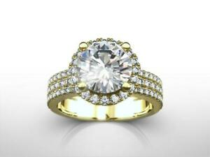 DESIGN 4.50 CARAT H VS2 3-ROWS ROUND DIAMOND RING 14 KARAT YELLOW GOLD NIB