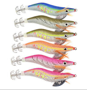 6P Squid Jigs Octopus Cuttlefish Shrimp Artificial Fishing Lures Jig Wrapped